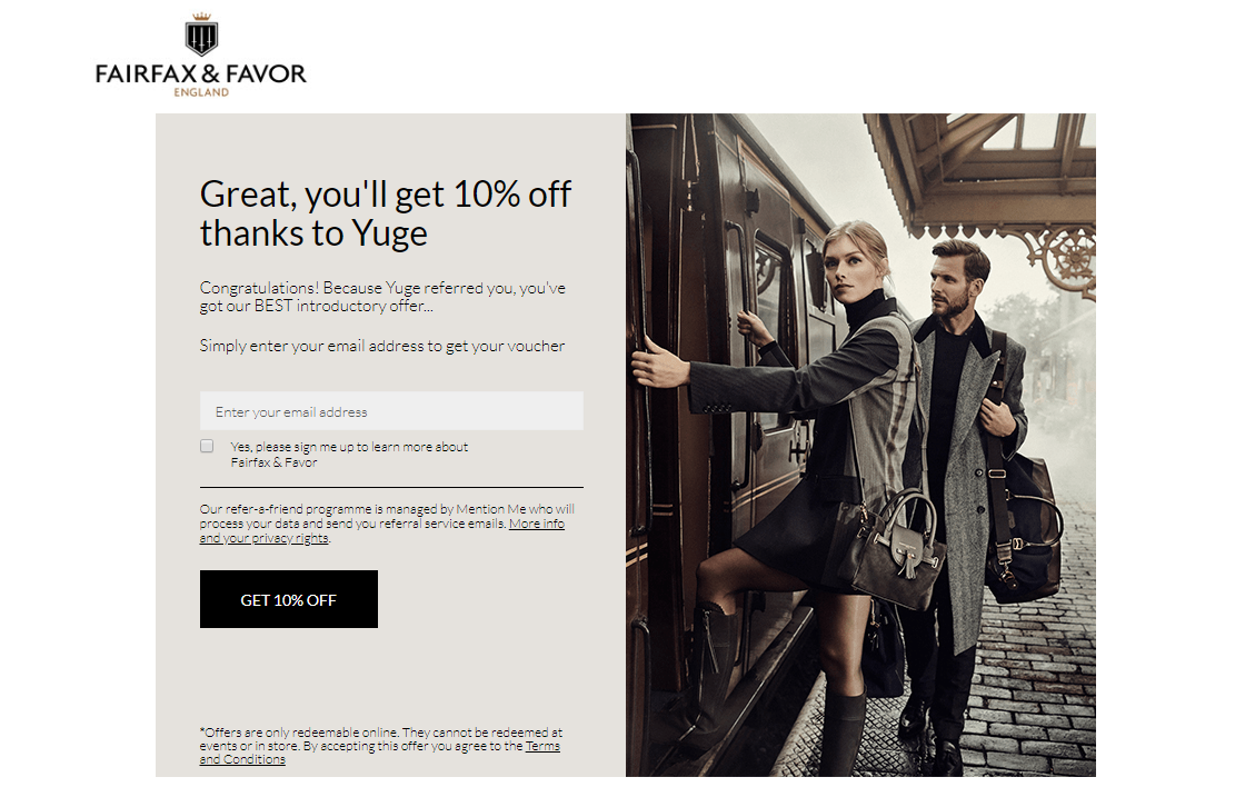 FAIRFAX & FAVOR referral code tested and working