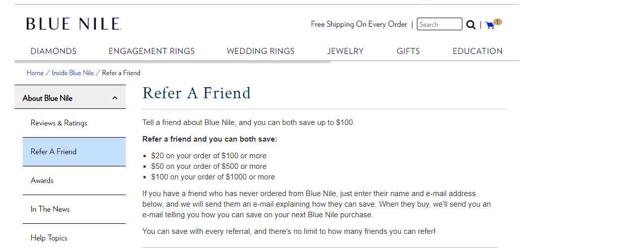 Blue Nile Referral code