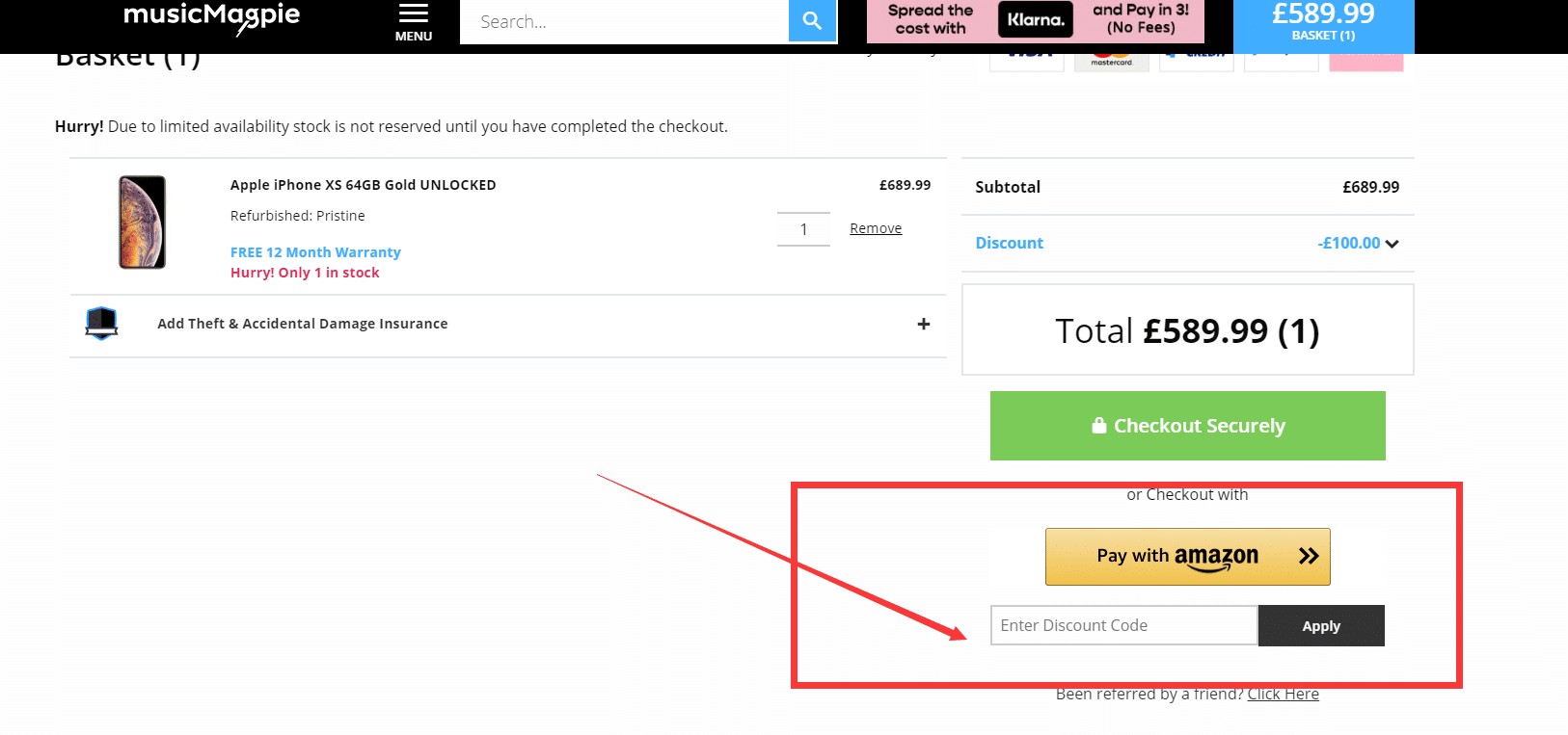 how to use music magpie discount code