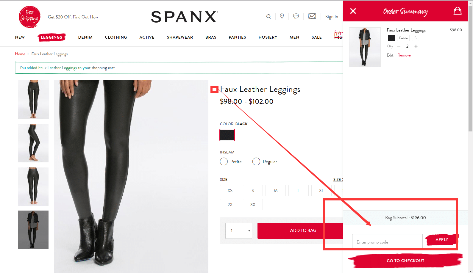 how to use spanx promo code