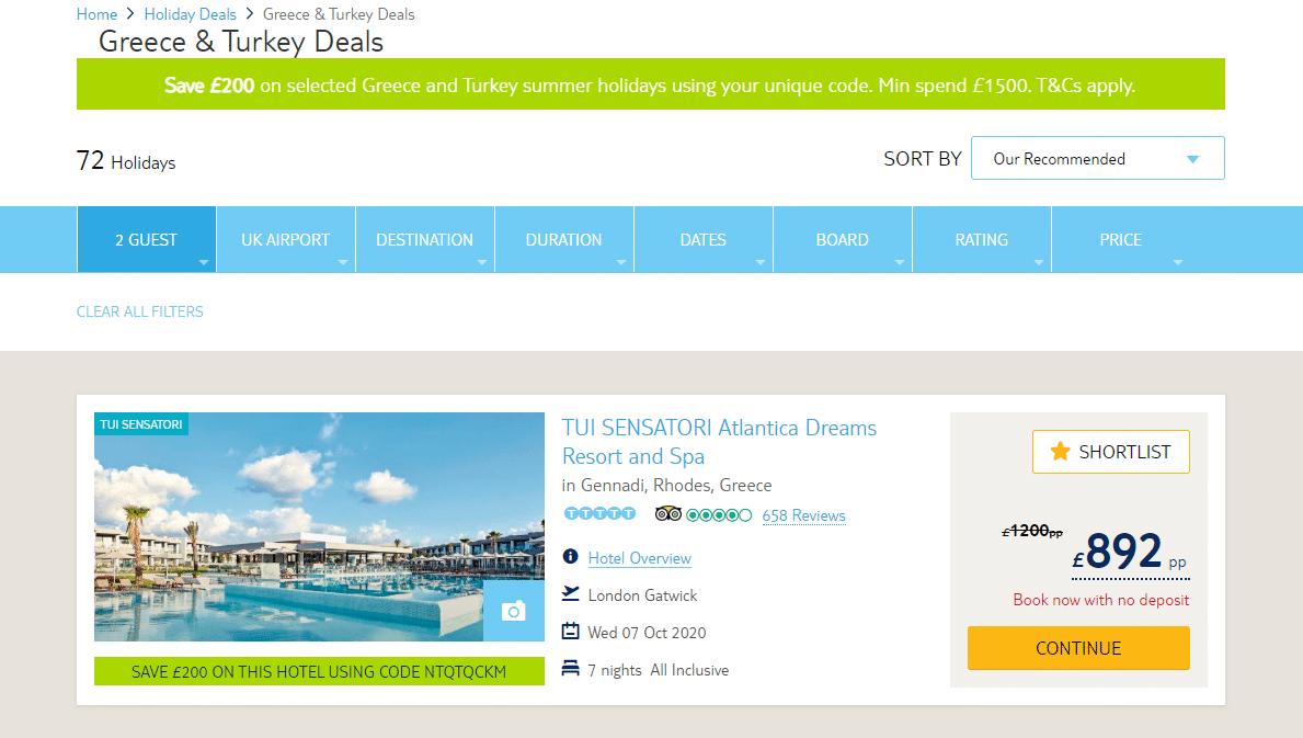 Tui discount code