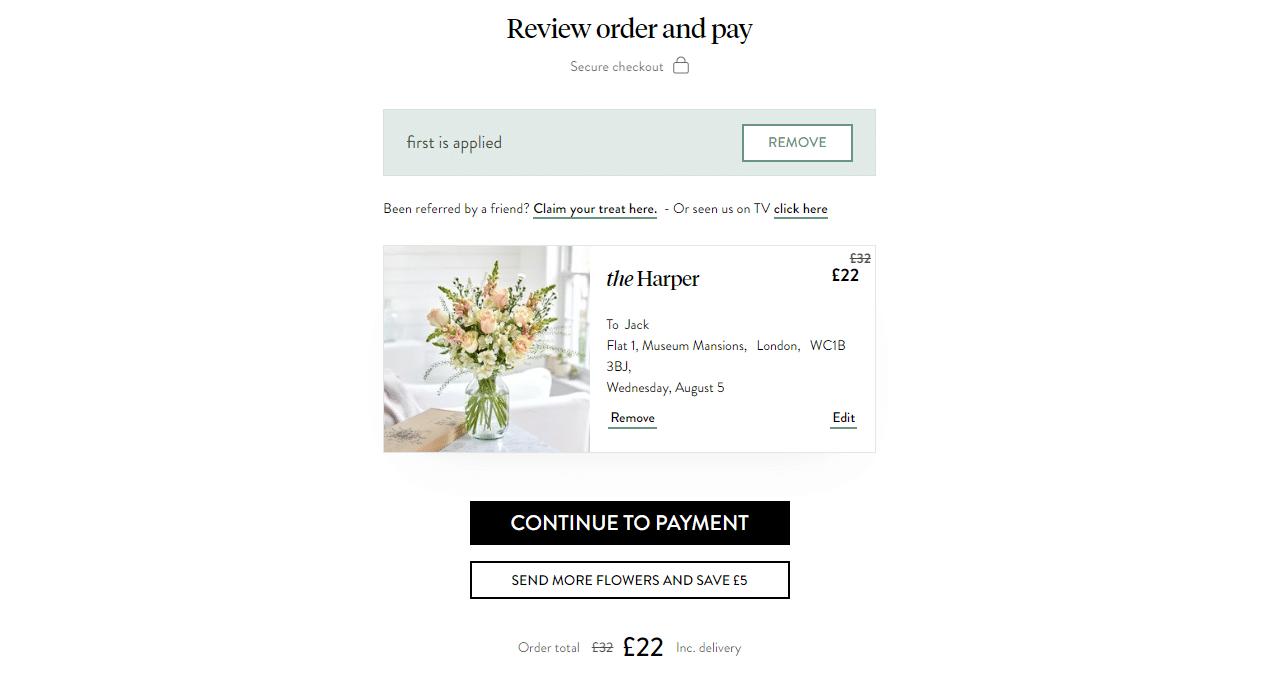 Bloom & Wild £10 off discount code