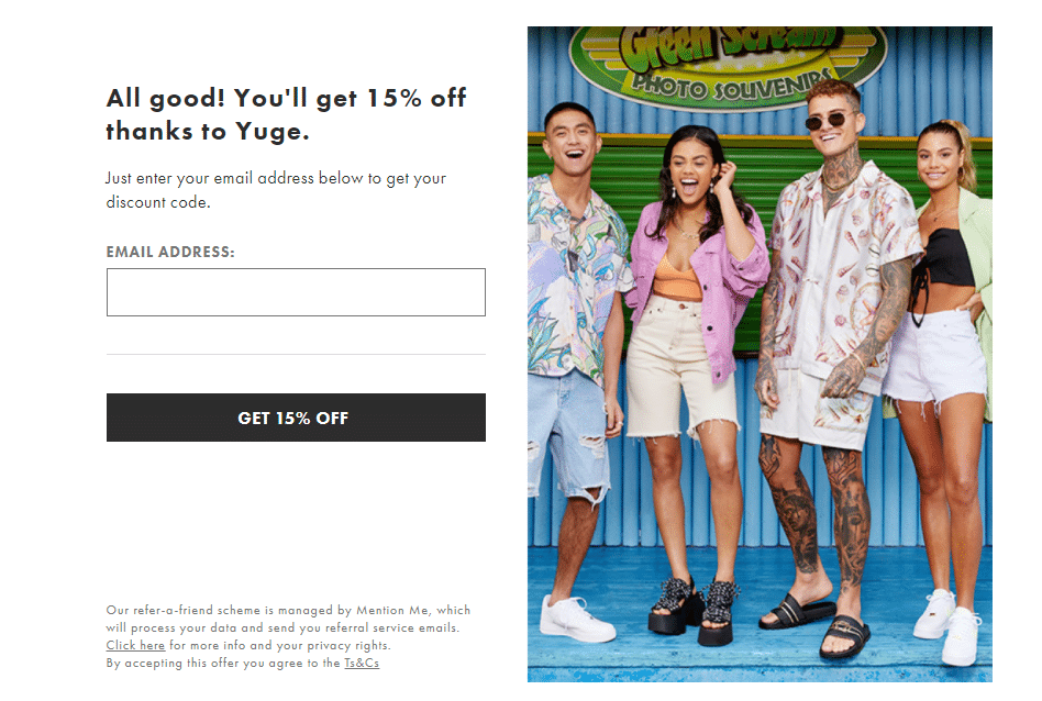 asos 15% off referral discount