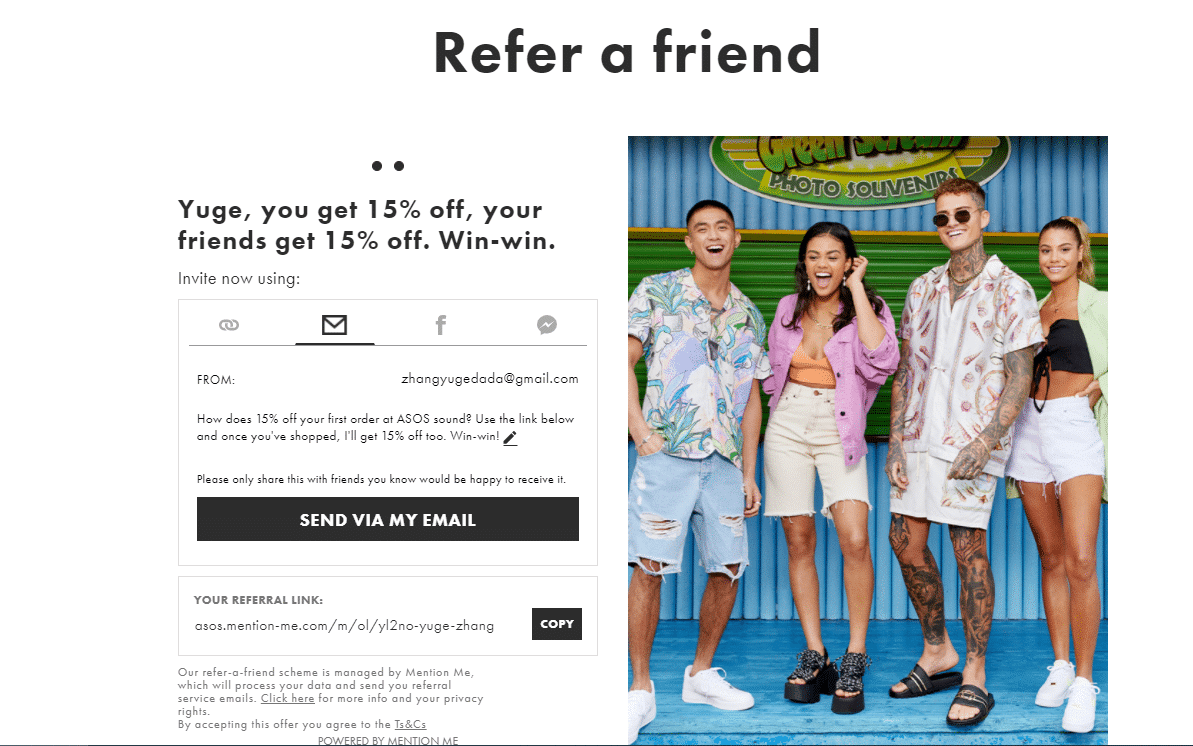 asos 15% off refer a friend discount