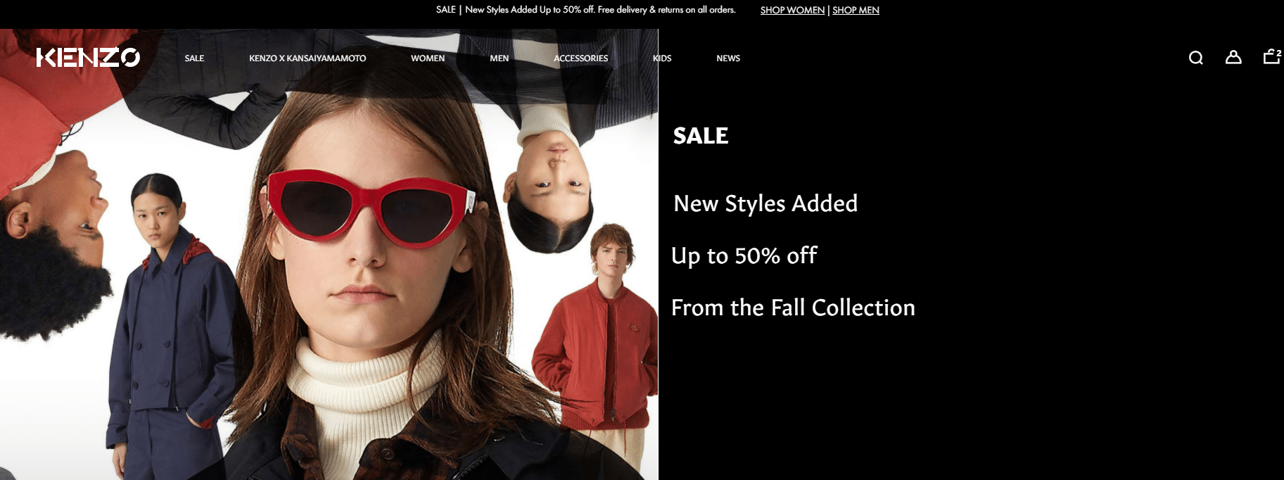 kenzo.com up to 50% off discount on fall items