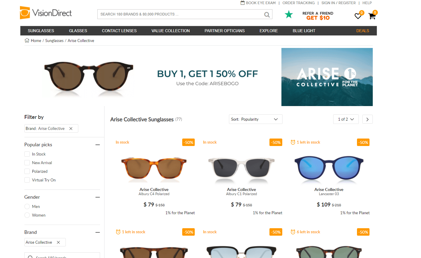 Vision Direct 50% off promo code