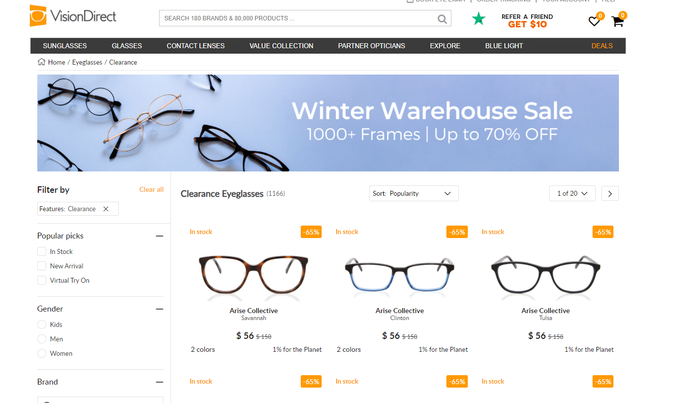 Vision Direct up to 70% off deal