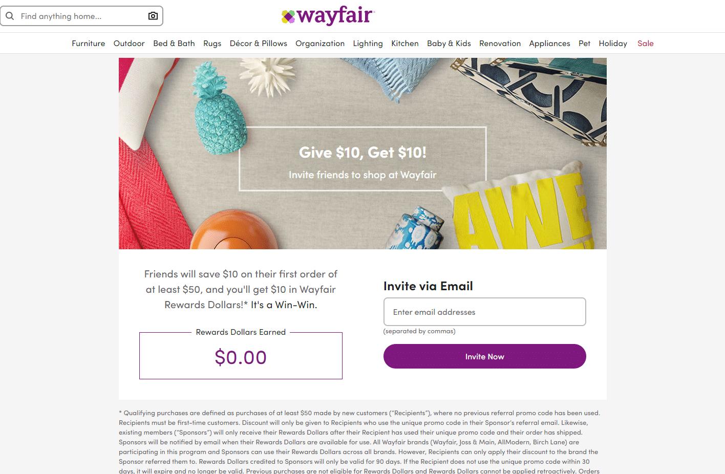 wayfair $10 off refer a friend deal