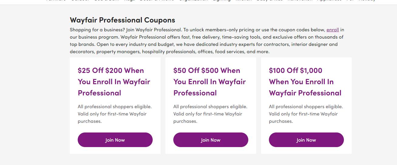 Wayfair Professional Coupons