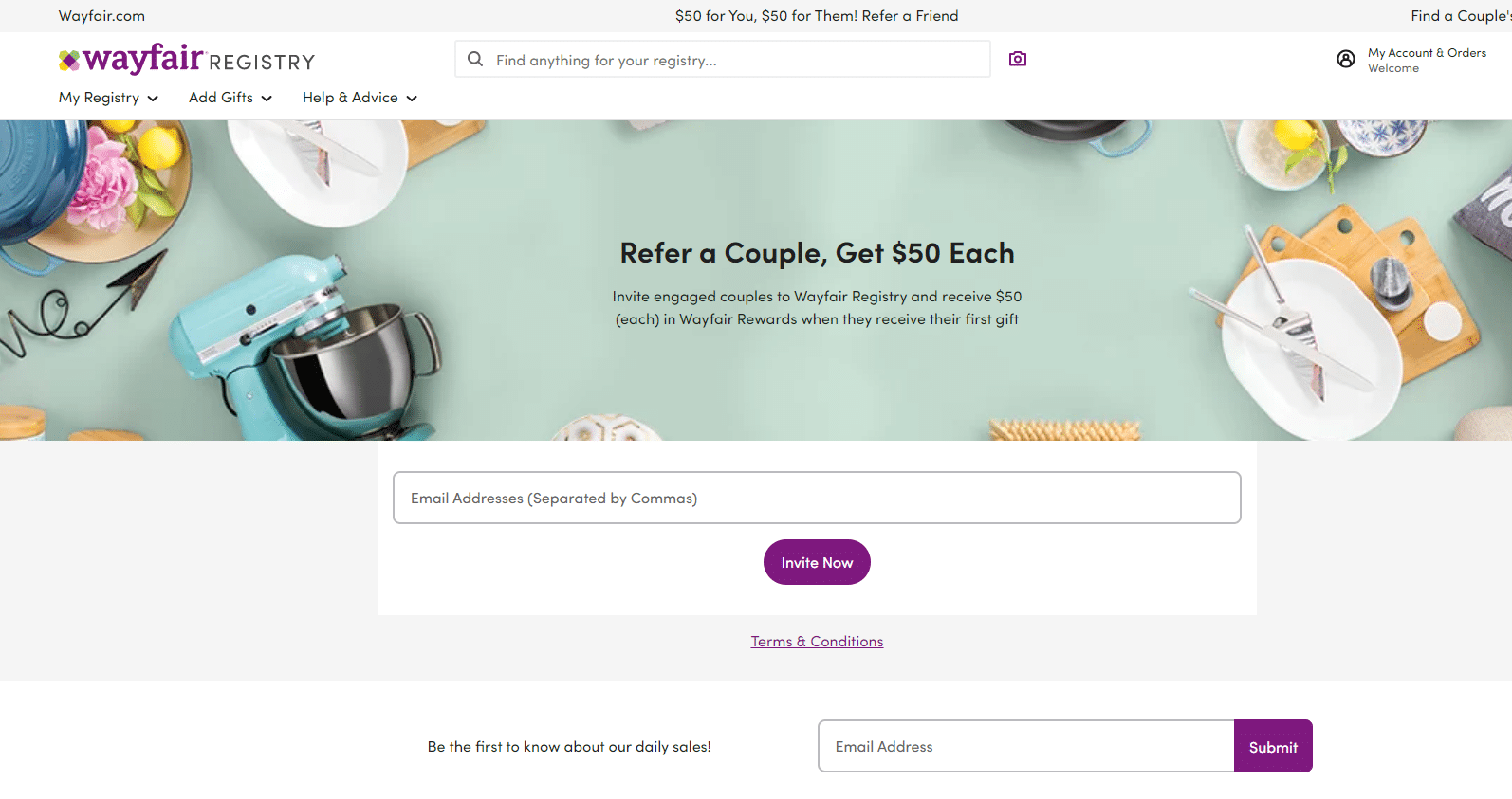 $50 off refer a couple discount in wayfair