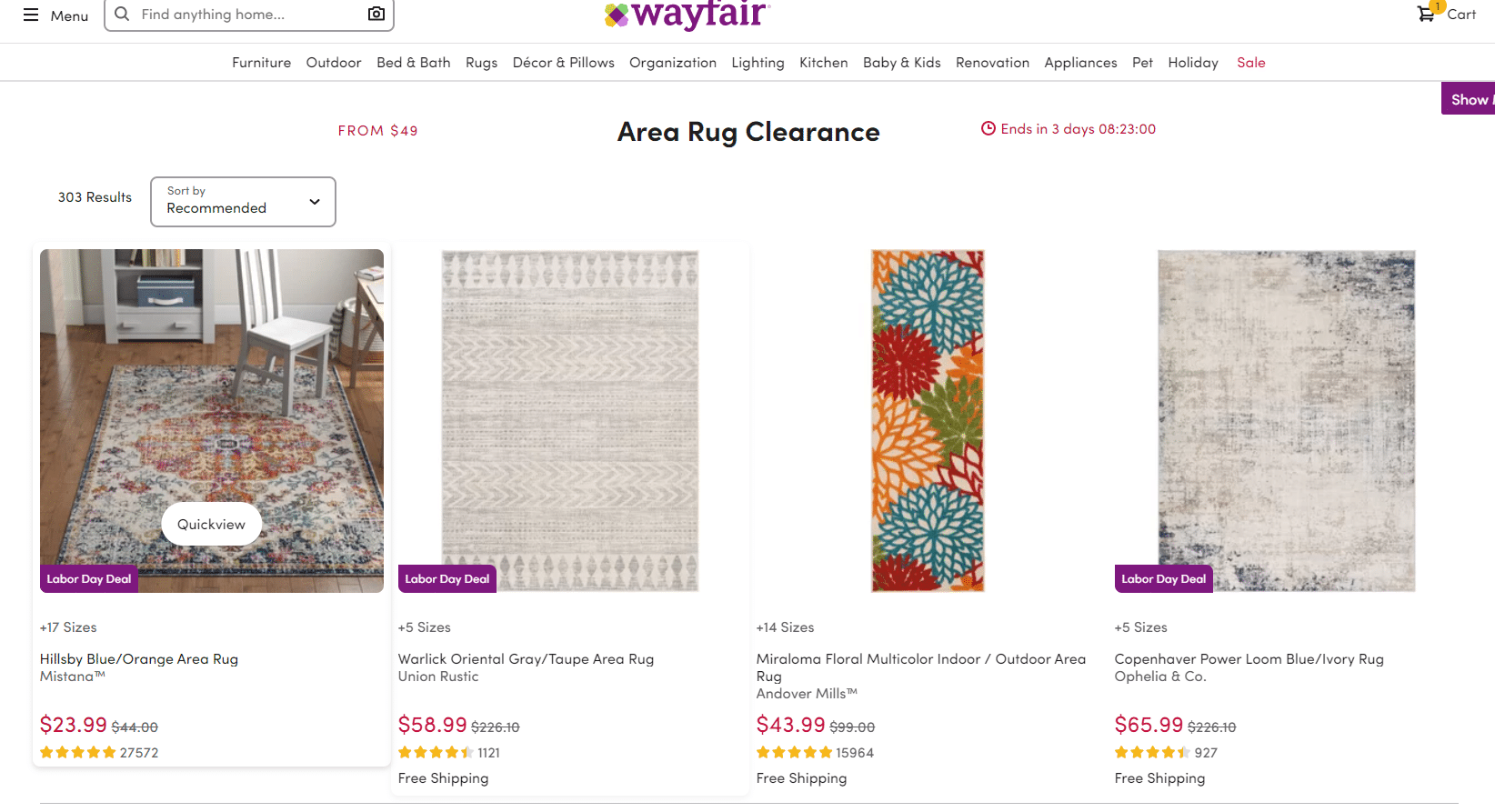 area rug clearance from $49