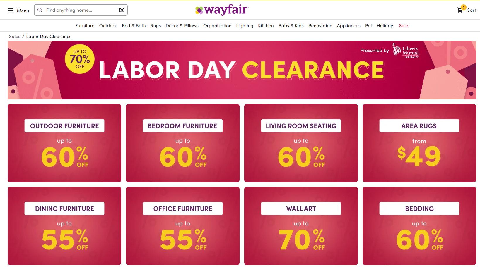 wayfair.com labor day clearance