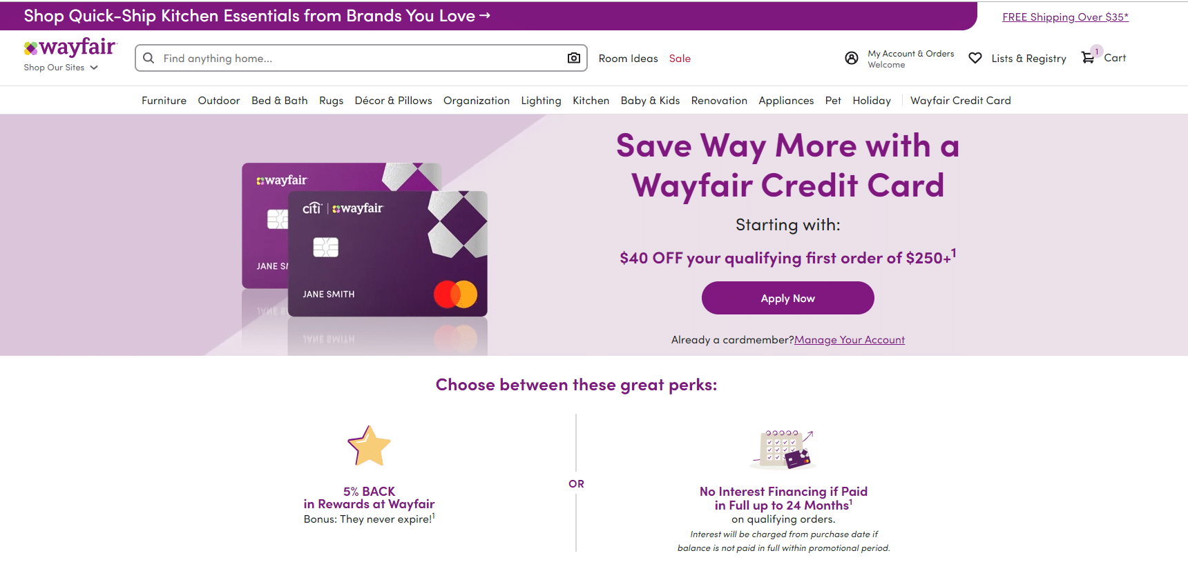 $40 off wayfair discount
