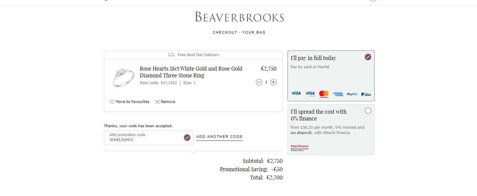 Beaverbrooks £50 off Discount Code