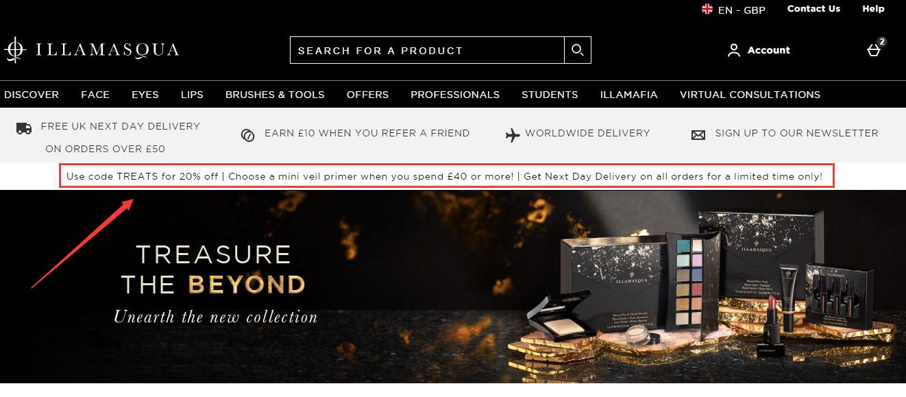 illamasqua.com 20% off promo code