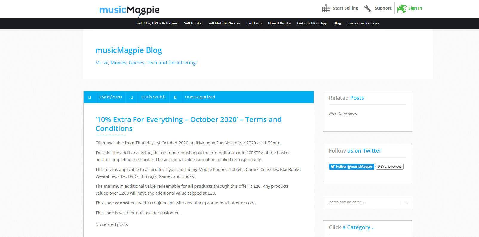 10% OFF Music Magpie Discount Code