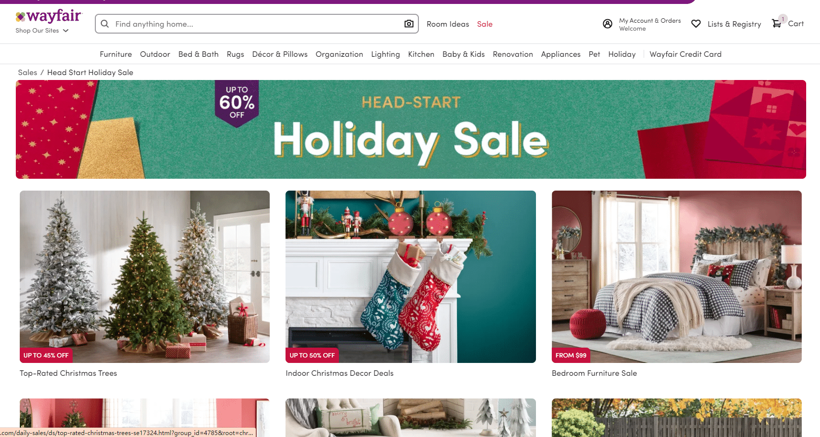 wayfair up to 60% christmas sale