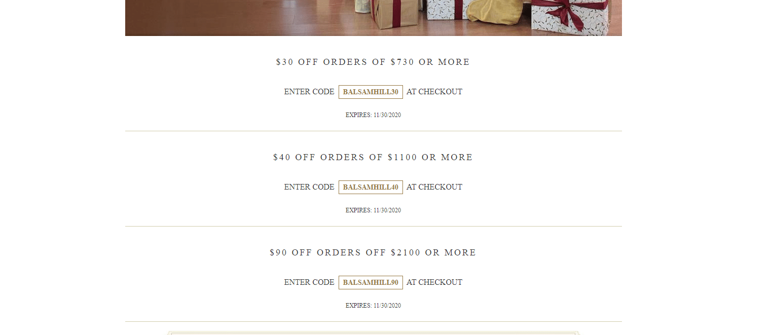 Balsamhill $40 off coupon code