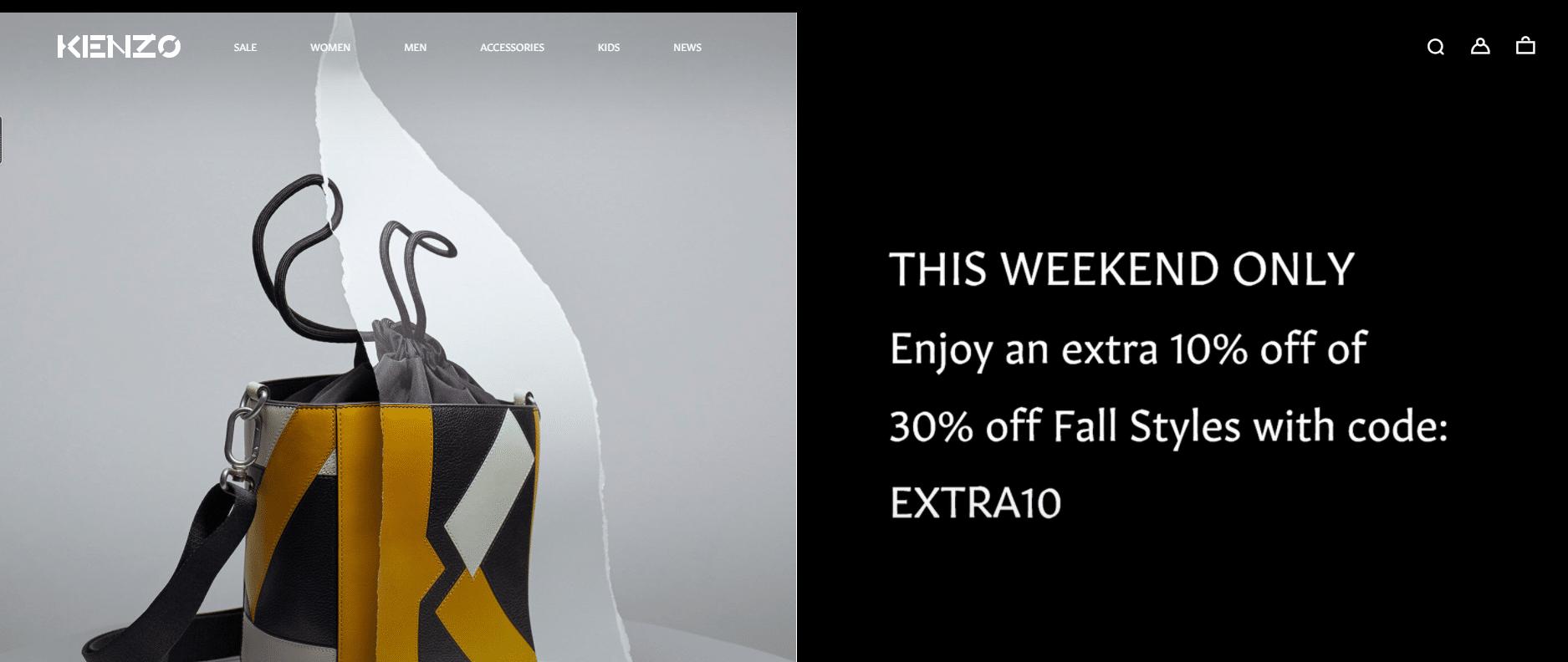 kenzo.com 10% off + 30% off promo code
