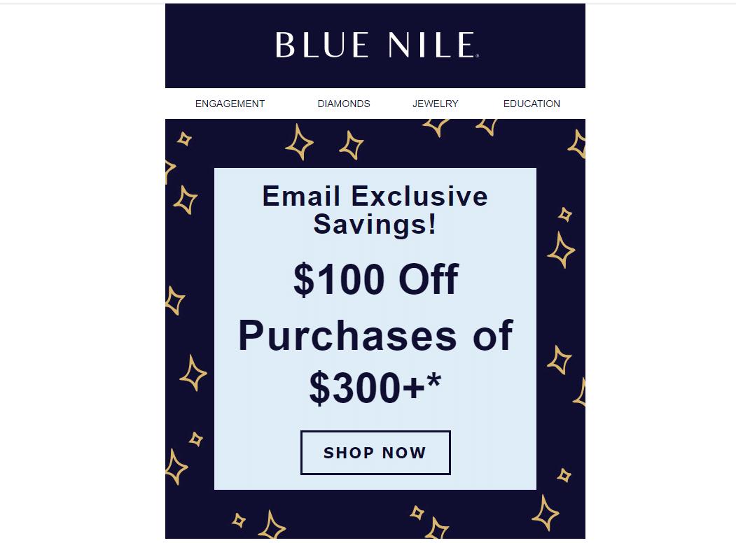 bluenile.com $100 off promo code