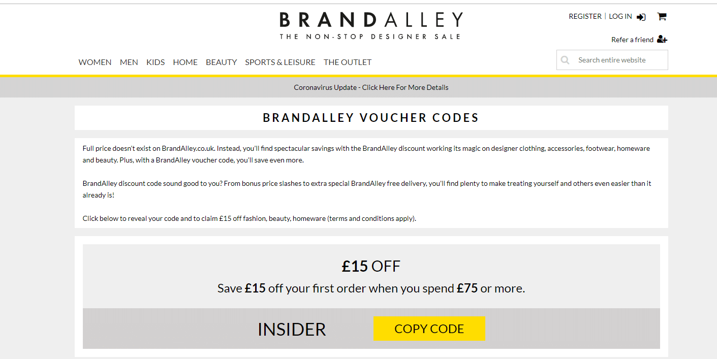 brandalley.co.uk £15.00 off promo code