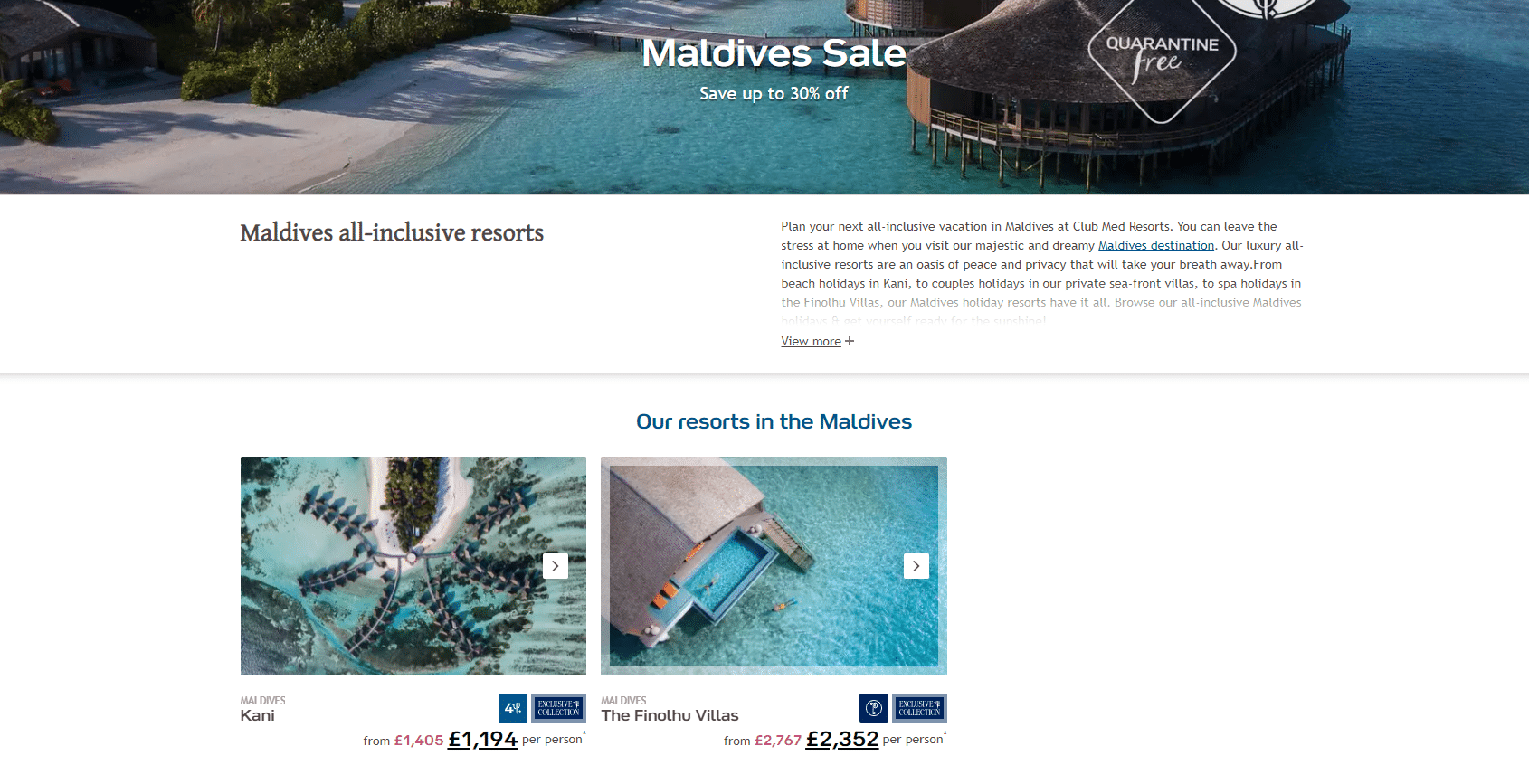 club med up to 30% off deal