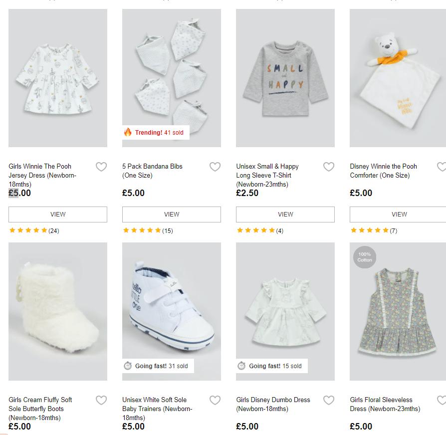 matalan.co.uk £5 or less on bady items