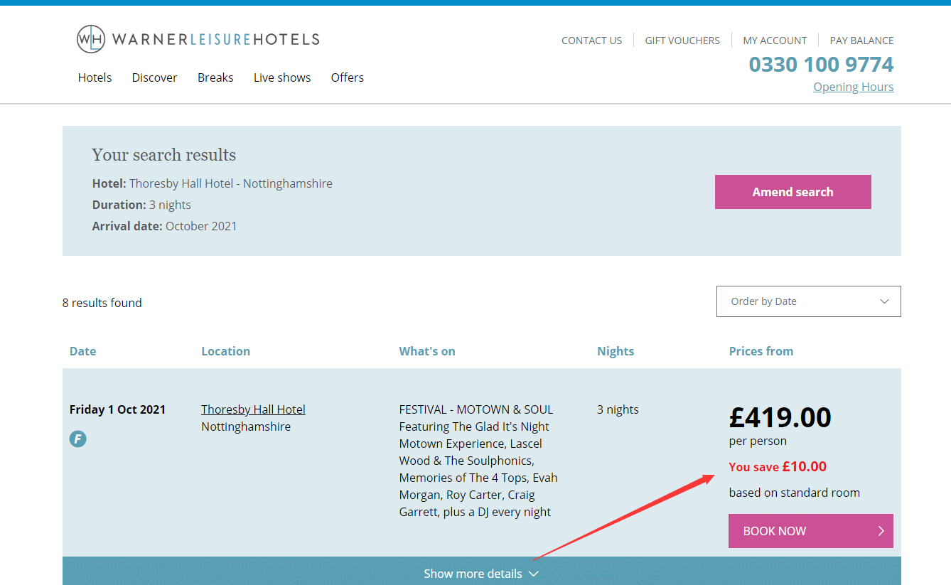 warnerleisurehotels.co.uk £10pp off promo code tested and working